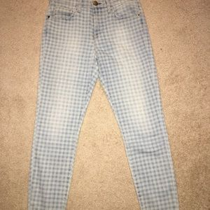 Current/Elliott Highwaist Stiletto Gingham Jeans